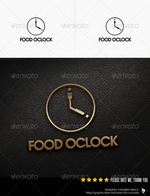 Food Oclock Logo Template - Food Logo Templates