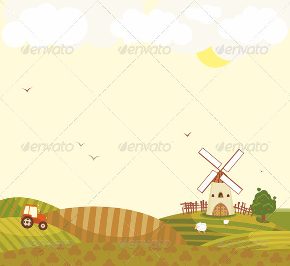 Rural Landscape Windmill Tractor Field Sheep - Landscapes Nature