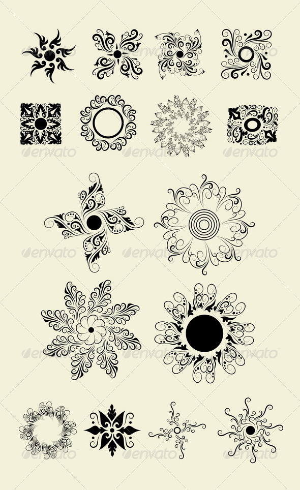 Flowers 2 (My 16 floral elements vector) - Flourishes / Swirls Decorative