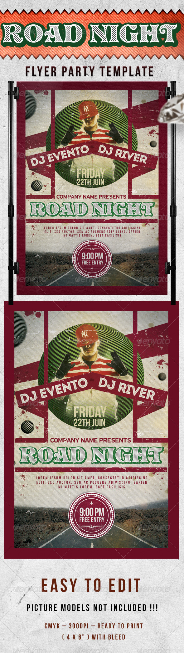 Road Night Party Flyer Template