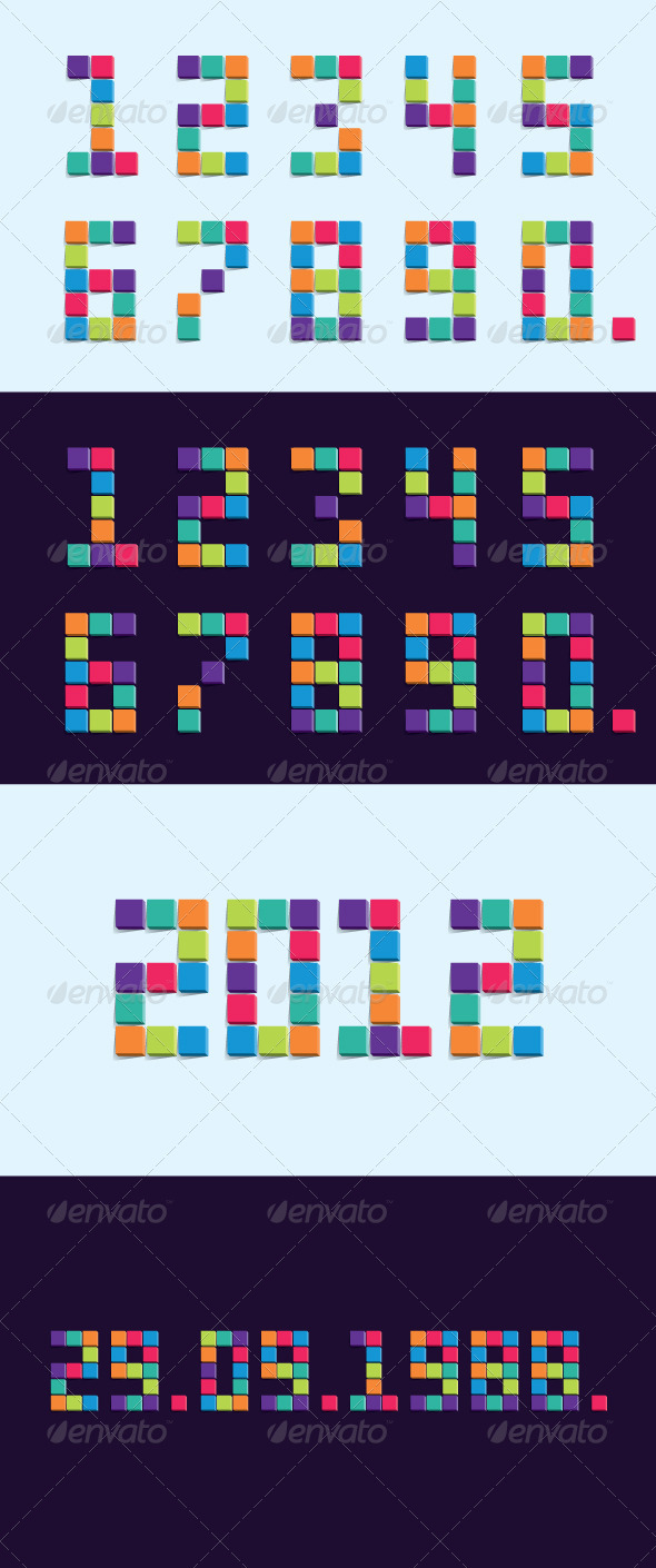 GraphicRiver Colorful 3D Pixel Cube Numbers 2750199