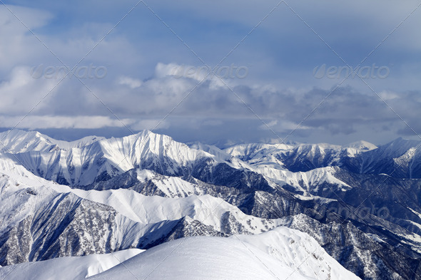 View from ski slopes - Stock Photo - Images