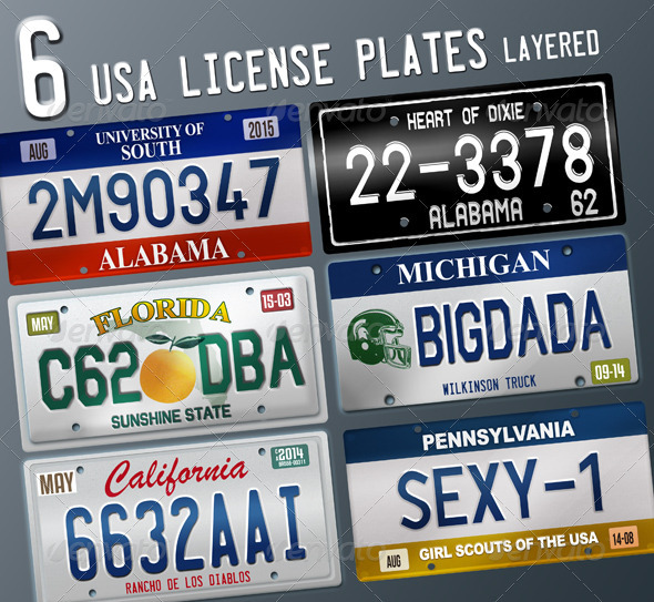 GraphicRiver 6 Layered USA License Plates 2751140