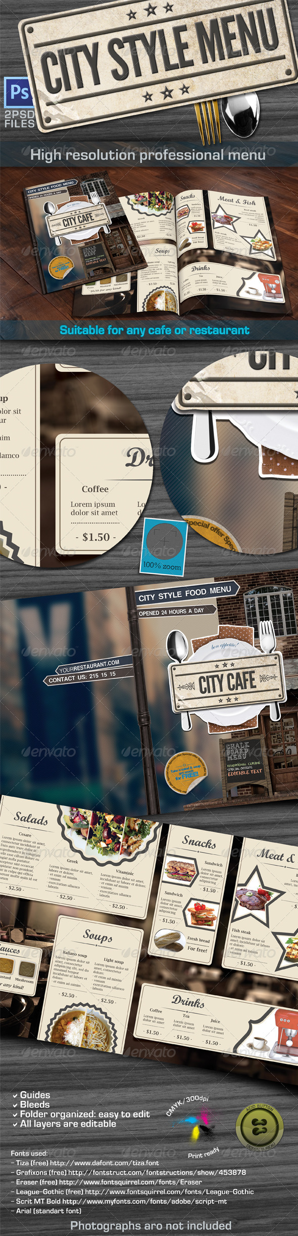 City Style Menu - Food Menus Print Templates