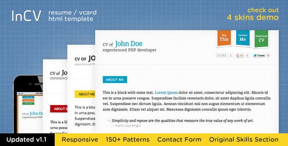 ThemeForest Responsive CV Resume HTML5 Template &3 skins 1836479