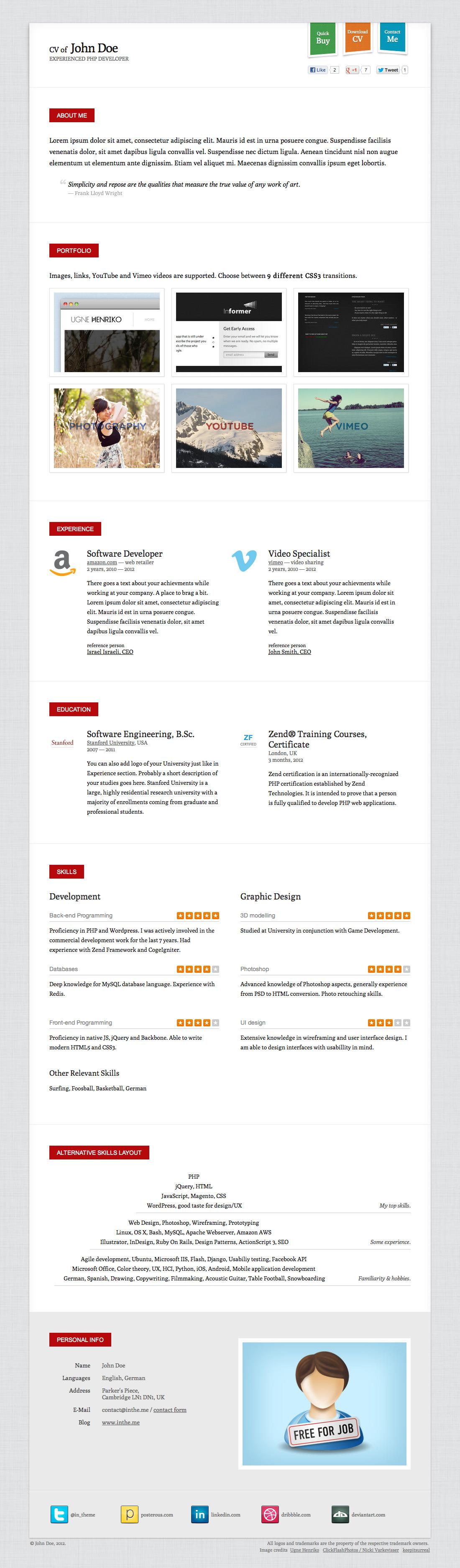 Responsive CV / Resume HTML5 Template (+3 skins)