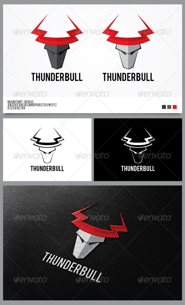 Thunder Bull Logo Template  - Animals Logo Templates