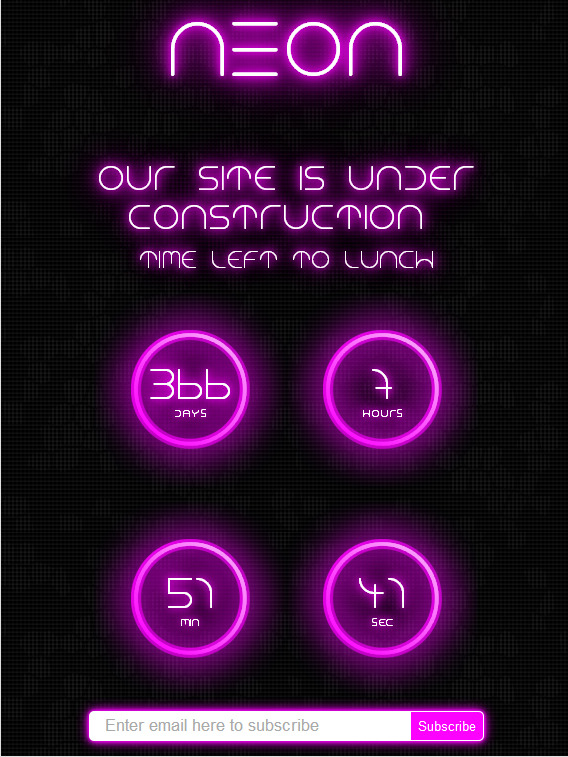 Neon - Responsive Under Construction Page