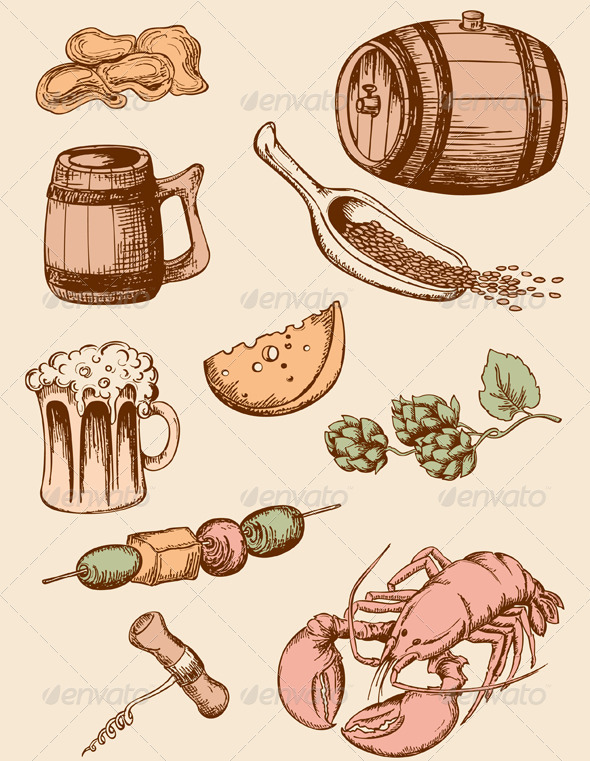 Set of Vintage Beer Icons