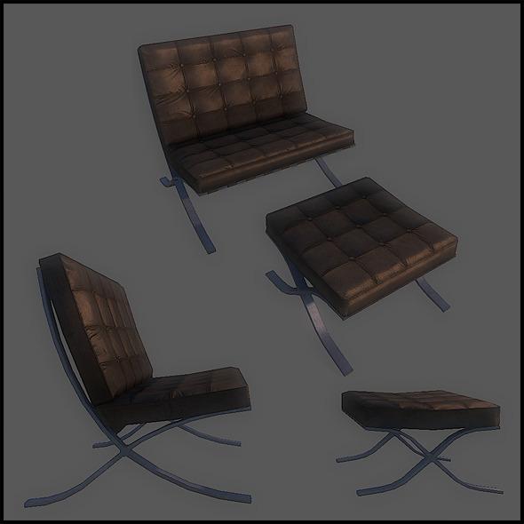 3DOcean Barcelona chair 2755250