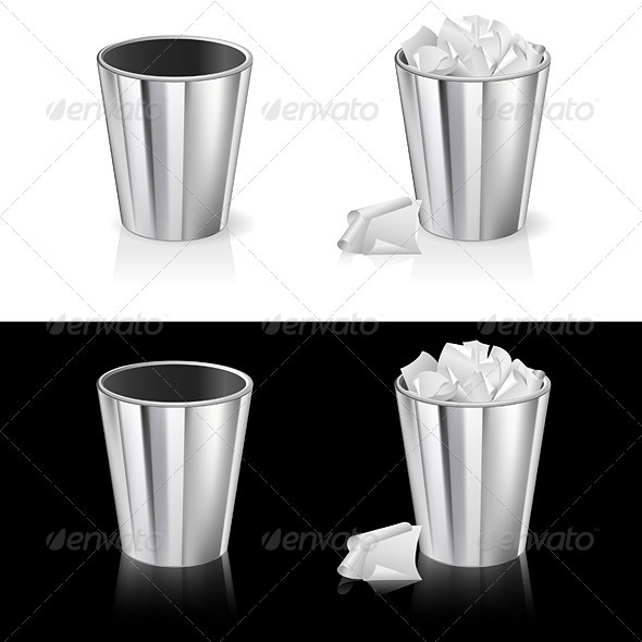 Set of garbage can - Man-made objects Objects