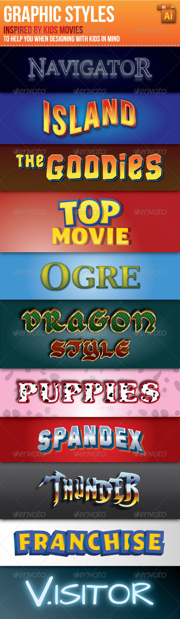GraphicRiver Graphic Styles Inspired by Kids Movies 2756260