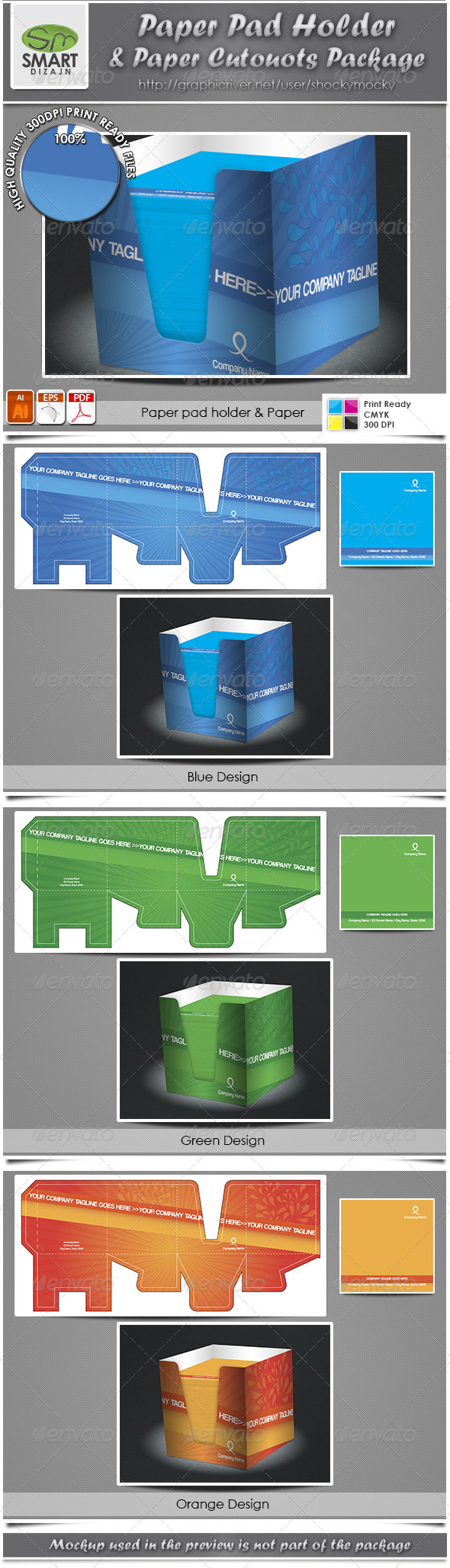 GraphicRiver Paper Pad Holder & Paper Cutouts Package 2743530