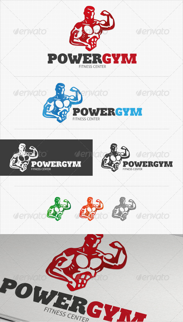 Power Gym Fitness Logo - Humans Logo Templates