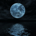 Big blue moon reflected in water surface - PhotoDune Item for Sale