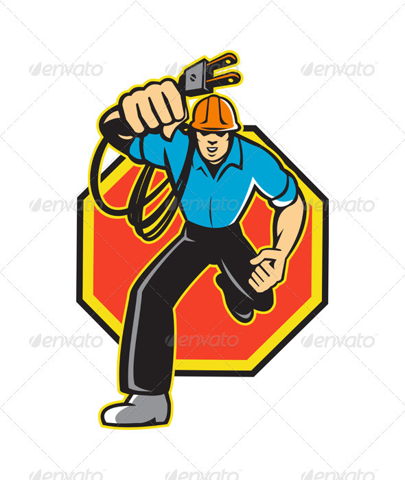 Electrician Worker Running Electrical Plug - Industries Business