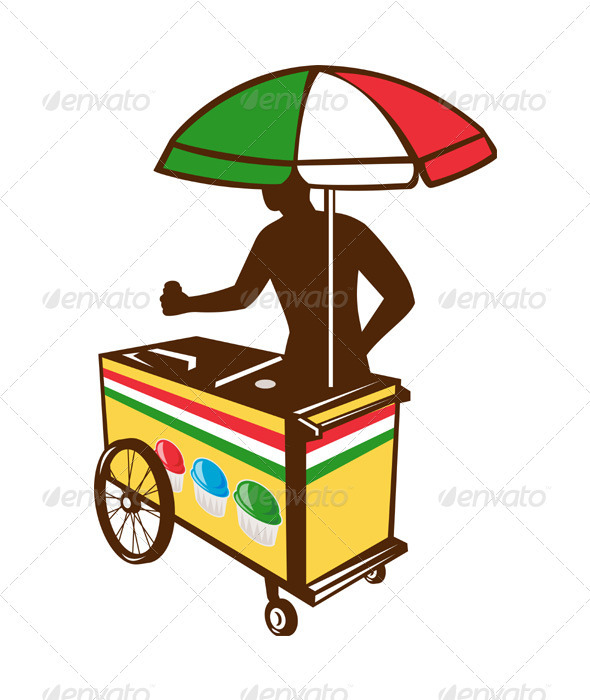 Italian Ice Push Cart Retro - People Characters