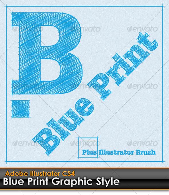 GraphicRiver Blue Print Illustrator Graphic Style plus AI Brush 99532