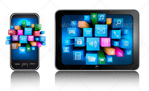 Icons in a smartphone and tablet pc - Stock Photo - Images