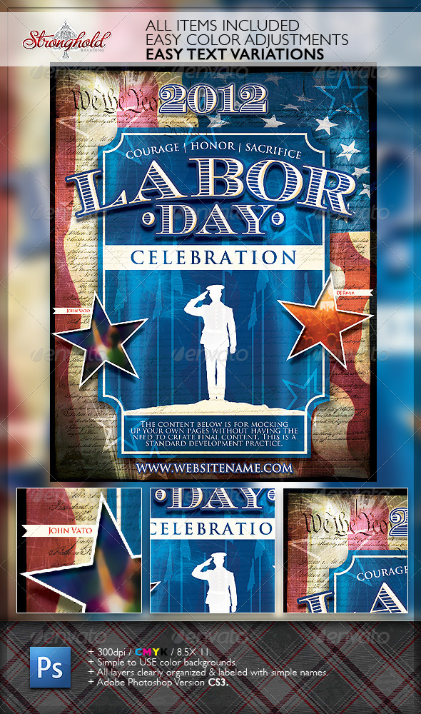 Vintage Labor Day Flyer Template - Holidays Events