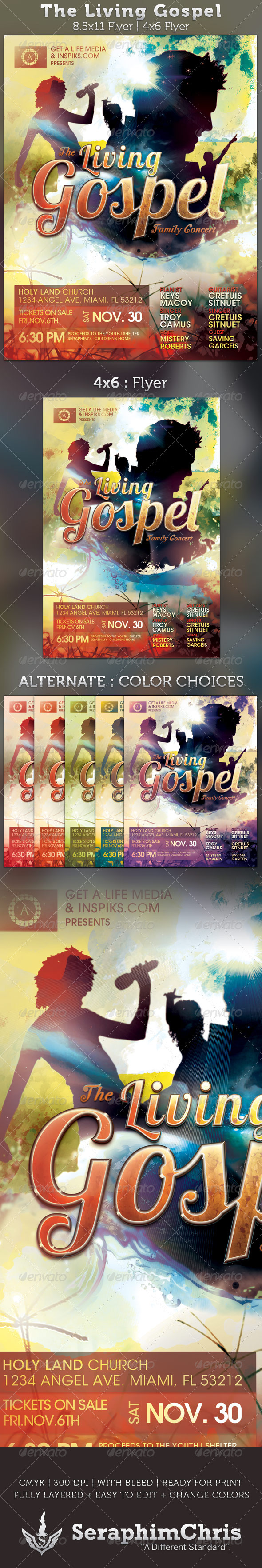 GraphicRiver The Living Gospel Church Concert Flyer Template 2761866