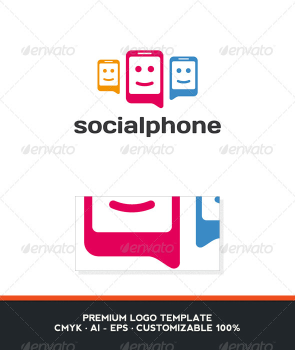 Social Phone Logo Template - Objects Logo Templates