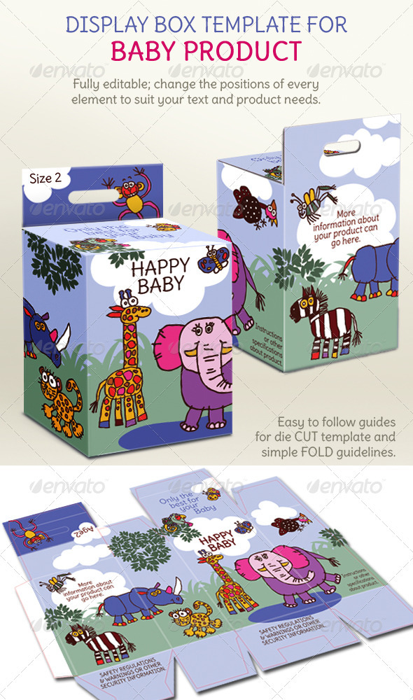 Baby Product Box; Children's Illustrations - Packaging Print Templates