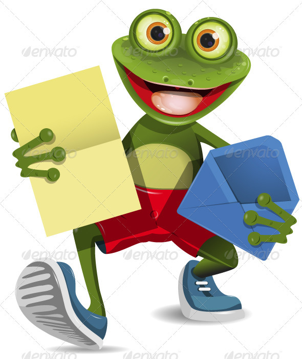 Frog with a letter - Animals Characters