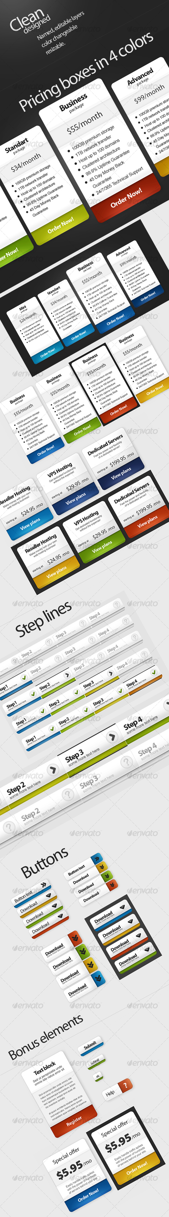 Pricing plans, Buttons, Steps, Special offer - Miscellaneous Web Elements