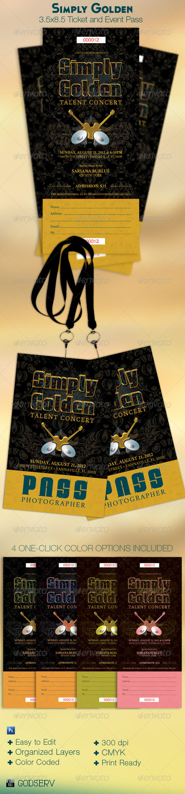 Simply Golden Ticket and Event Pass Template - Miscellaneous Print Templates