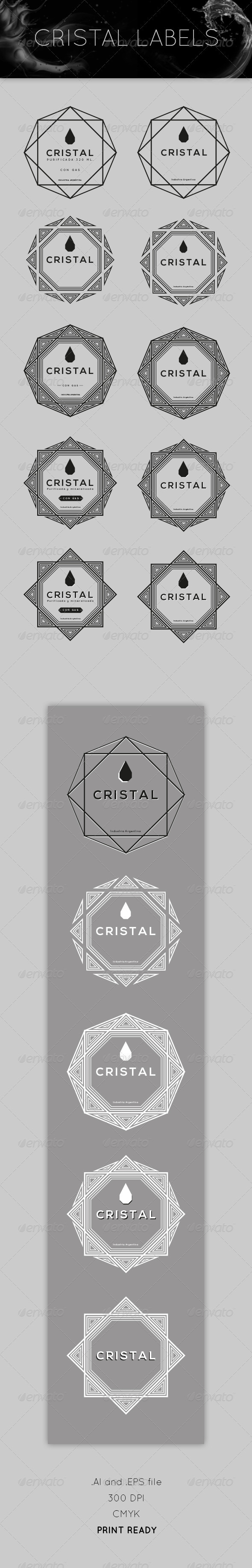 Cristal Labels - Decorative Vectors