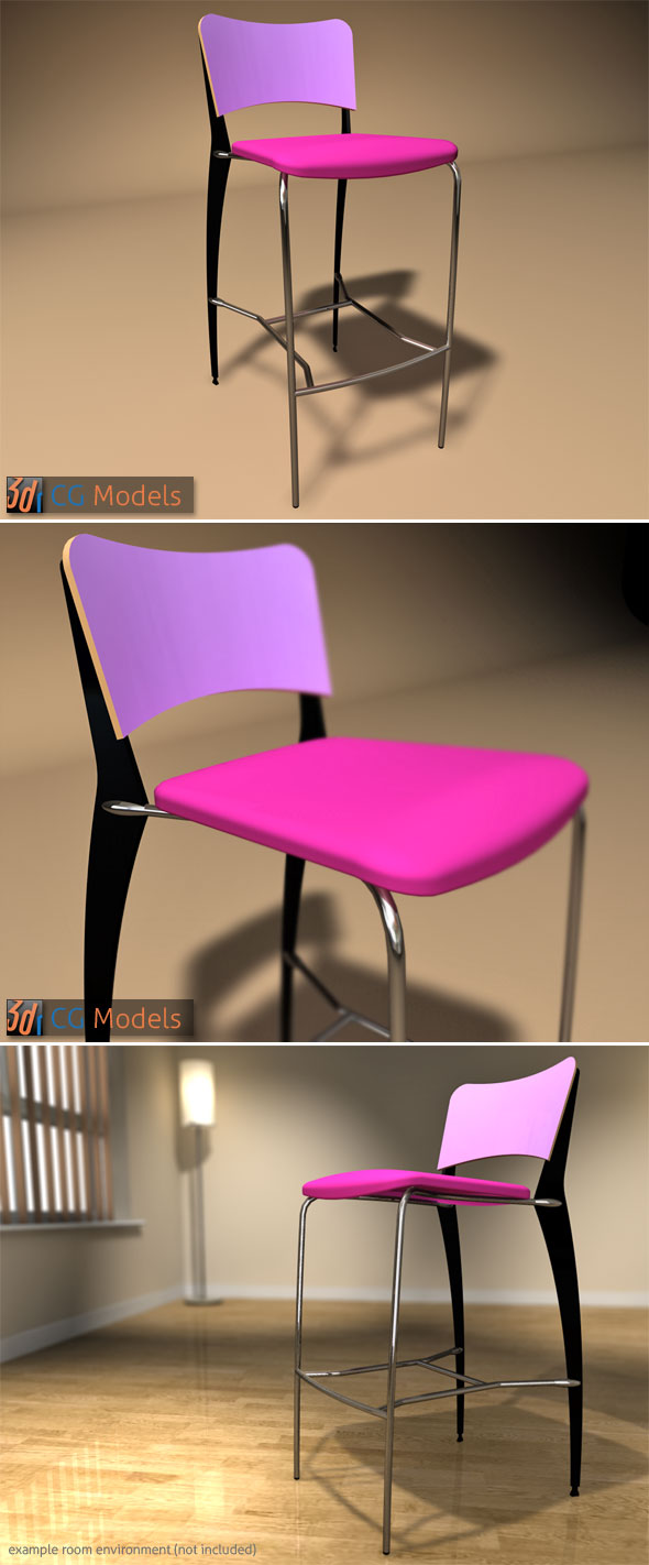 Contemporary Stool 08 - 3DOcean Item for Sale