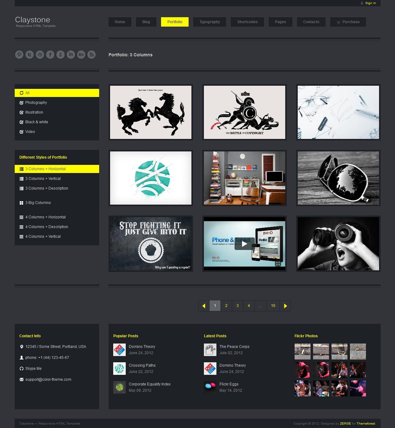 Claystone - Responsive HTML Template - 07 Portfolio 3Col Hor