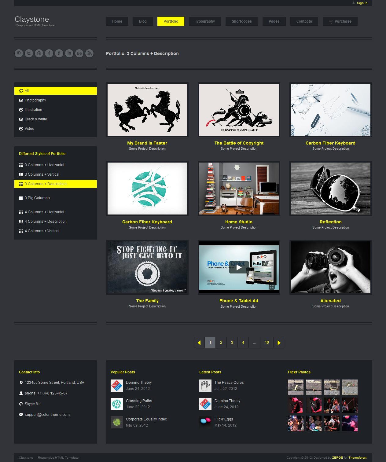 Claystone - Responsive HTML Template - 08 Portfolio 3Col Hor Description