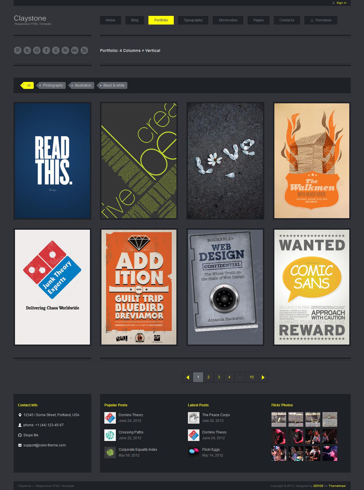 Claystone - Responsive HTML Template - 09 Portfolio 4Col Ver