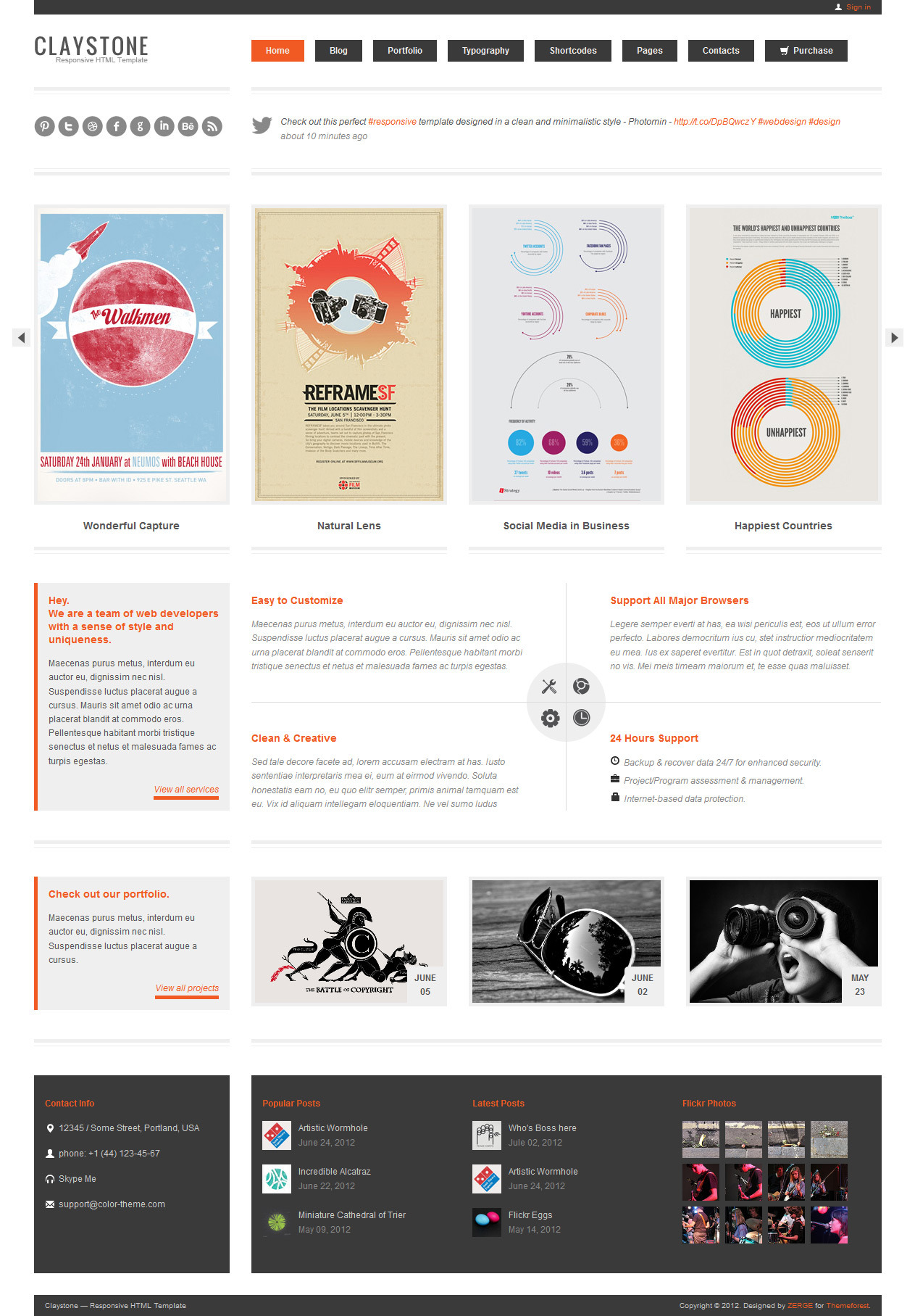 Claystone - Responsive HTML Template - 12 Home Light