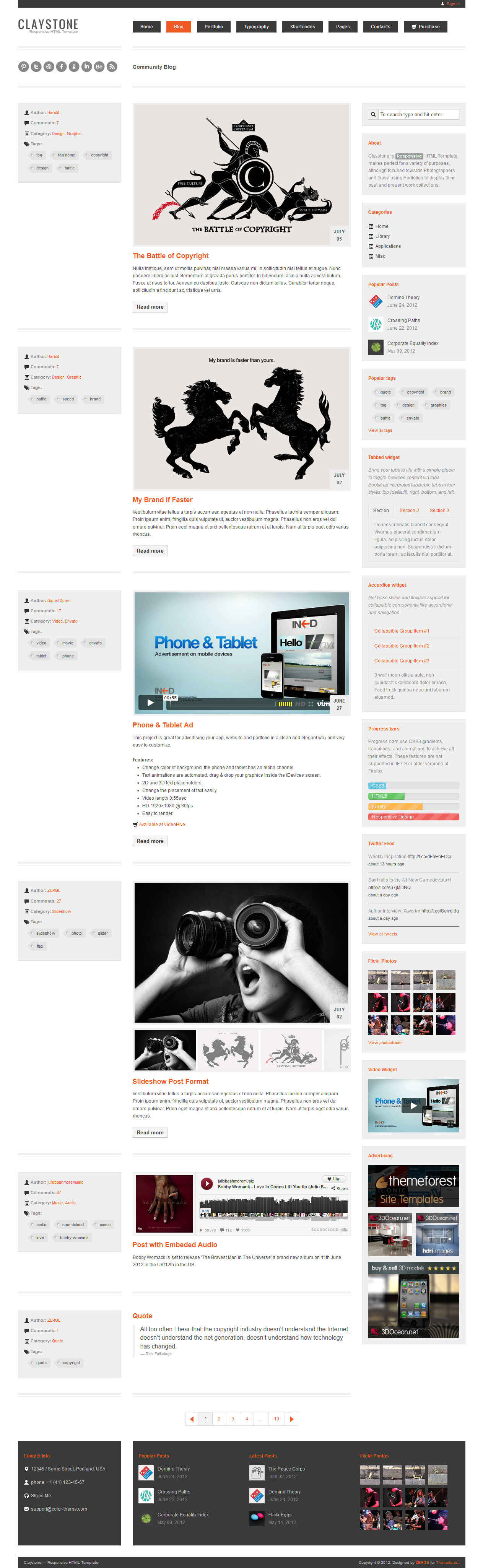 Claystone - Responsive HTML Template - 14 Blog Light