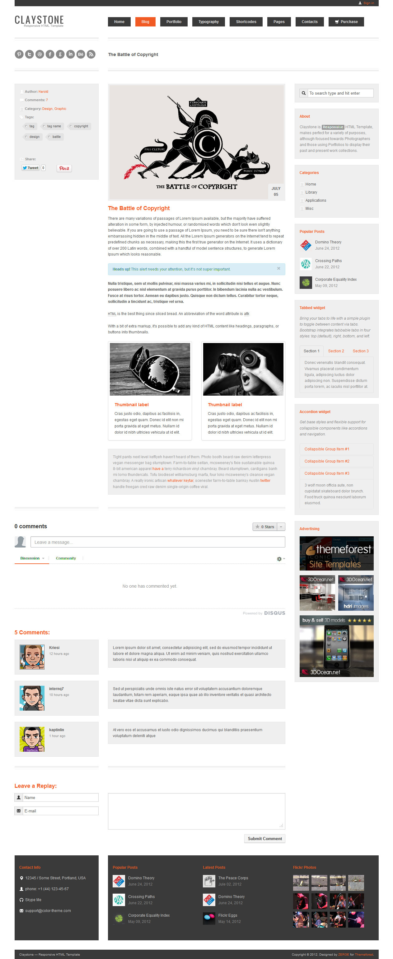 Claystone - Responsive HTML Template - 15 Blog Single Light
