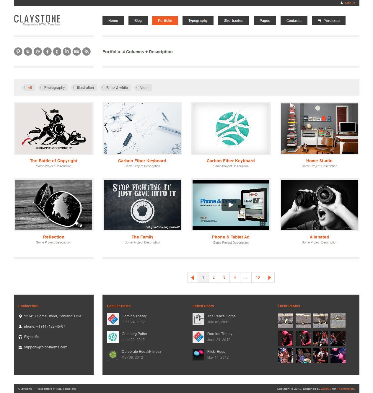 Claystone - Responsive HTML Template - 17 Portfolio 3Col Hor Description