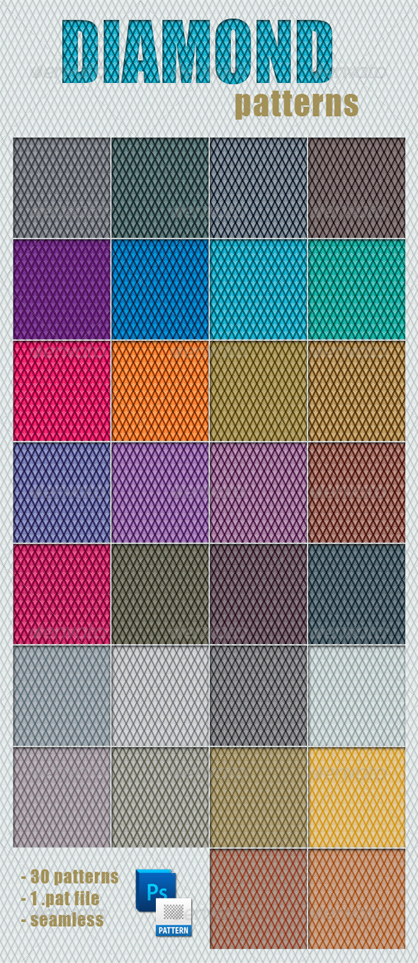 30 Colorful Diamond Patterns - Textures / Fills / Patterns Photoshop