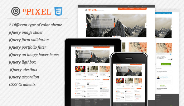0pixel Unique HTML/CSS3 Template