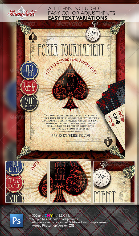 Vintage Poker Flyer Template - Flyers Print Templates