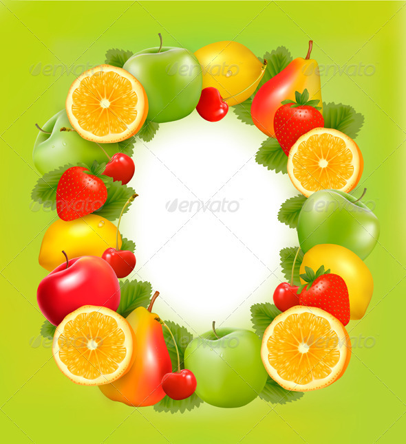 Frame made of fresh juicy fruit - Food Objects