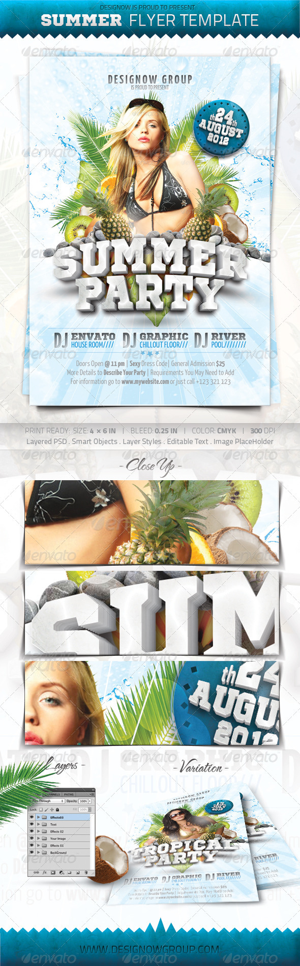 Tropical Summer Party Flyer Template - Clubs & Parties Events