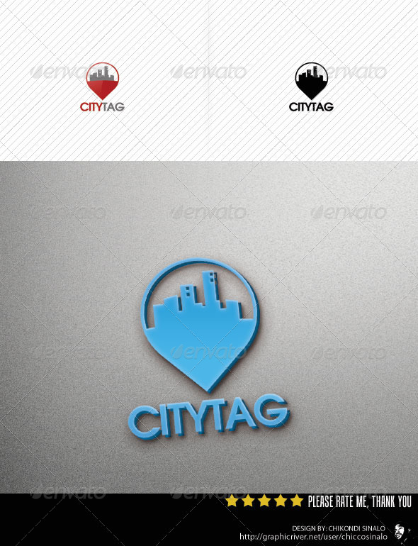 City Tag Logo Template v2 - Abstract Logo Templates
