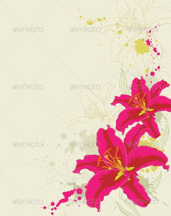 Floral Background with Lily and Ornament - Flowers & Plants Nature