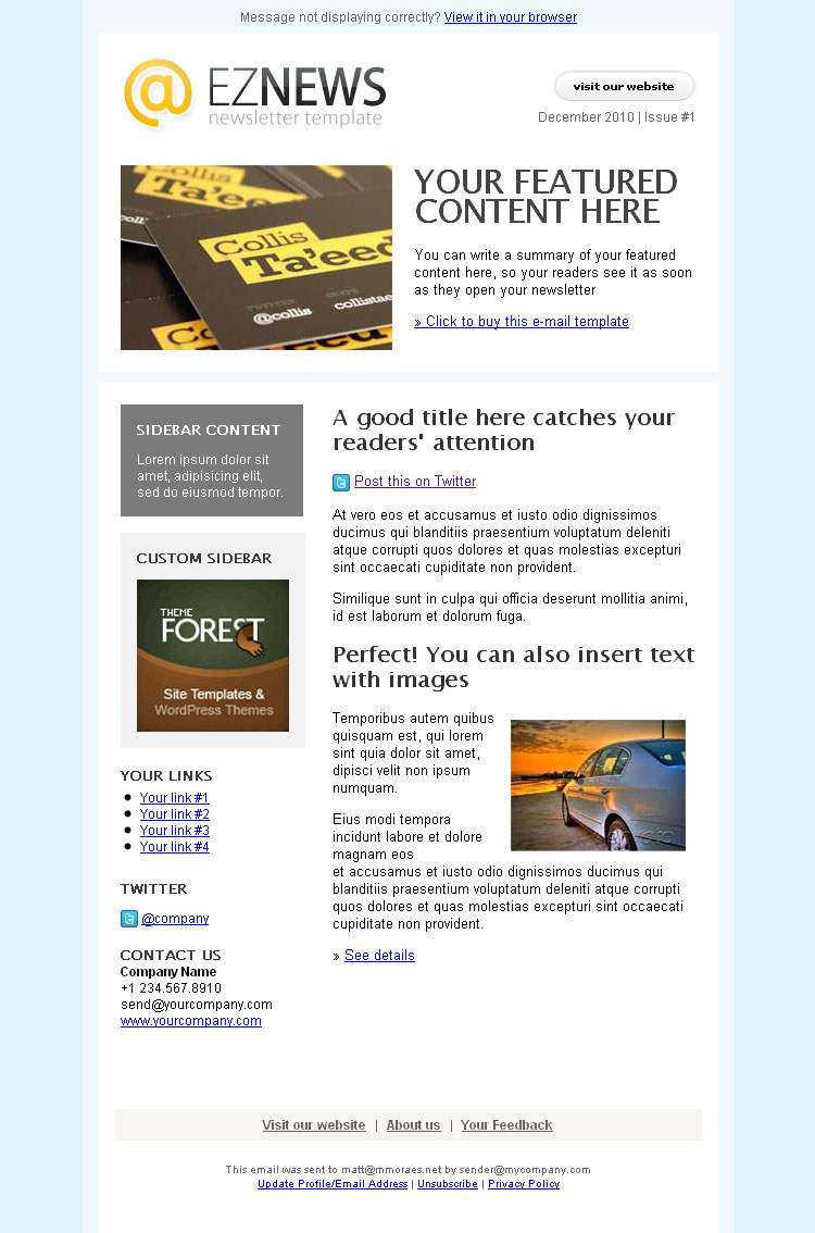 EZ News Newsletter Template - EZ News: 12 customizable templates!