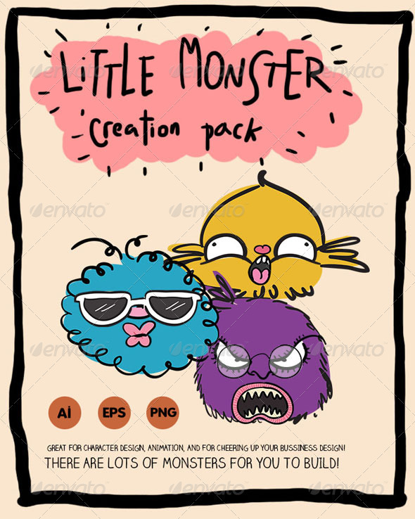 Little Monster Creation Pack - Characters Vectors
