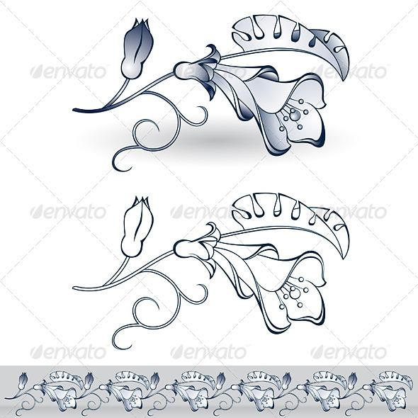 Abstract beautiful spring flower - Decorative Symbols Decorative