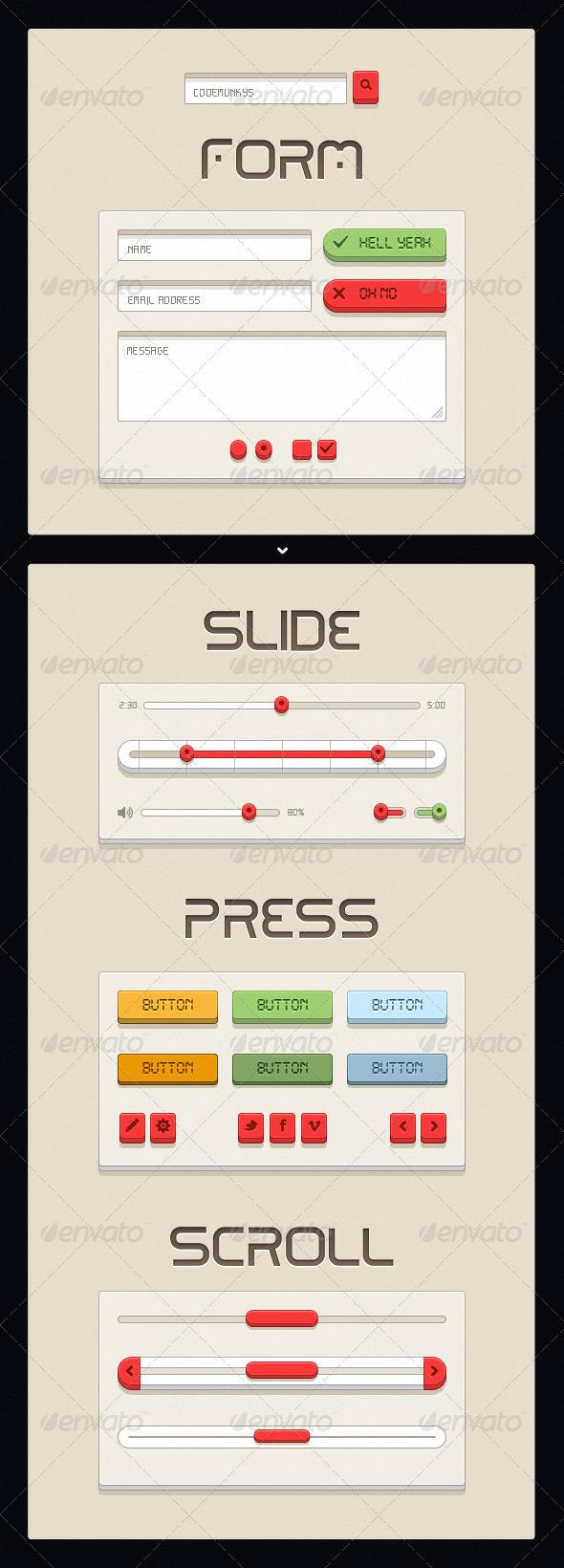 Retro Beige UI Kit - User Interfaces Web Elements